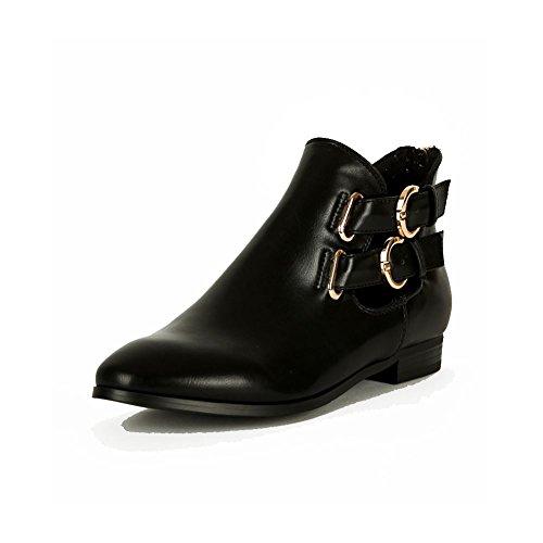 Pixie di caviglia tacco piatto / low Ladies stivali con fibbie doppie oro Nero