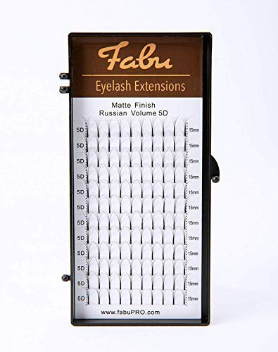 Fabu extension ciglia per applicazioni volume russo ventaglio/ciuffetto 5d prefabbricato; spessore 0,07; curvatura d; una lunghezza per scatola (15mm)