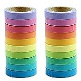 Cinta adhesiva con estampado, 20rollos DIY Rainbow Candy Color adhesivas papel, cinta de carrocero para álbumes, teléfono decoración y aula decoración