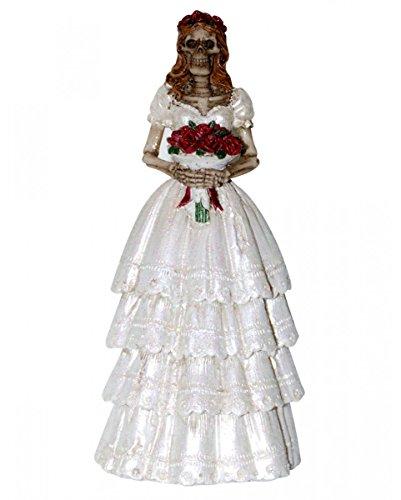 Horror-Shop Skelett Braut Figur 13 cm als skelettierte Hochzeitsdeko für Halloween & Gothic Fans