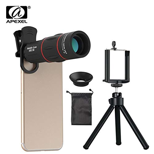 Apexel APL -T18ZJ 18X Optical Zoom Telephoto Telescope Cell Phone Lens Camera with Phone Holder and Clip Tripod