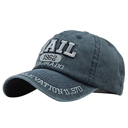Saingace(TM) Baumwolle Baseball Cap ☼ Mode Unisex Baumwolle Kappe Atmungsaktiver Basecap Einfache Lässige Stickerei Hut Sonnenhut Hip Hop Baseballmütze für Draussen Sport Reisen -