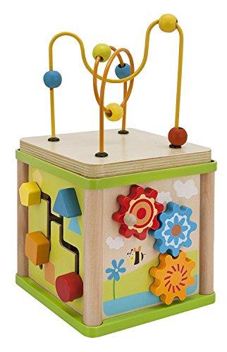 Eichhorn 100005060 - kleines Spiele Center - 15,5 x 15,5 x 29,5 cm, Motorikschleife / Drehspiel / Steckspiel / Sortierspiel - inklusive 4 Steckbausteine