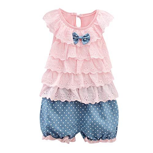 Ropa Bebe Niña Verano Fossen - 2PC/Conjuntos -Chaleco de Encaje con Volantes + Pantalones Cortos de Estampado Lunares - para Recien Nacido 1 a 3 año