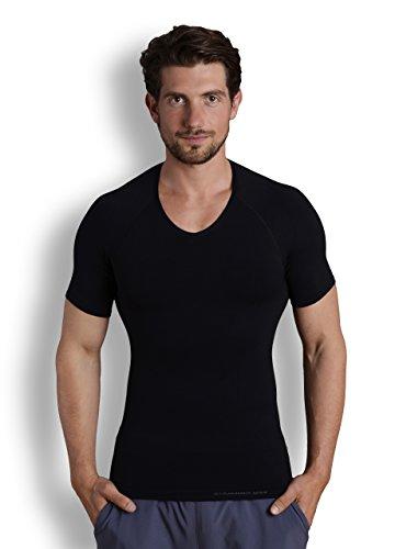 Strammer Max V-Neck Funktionsshirt, atmungsaktives Kompressionshirt (hochwertiges Meryl Skinlife Gewebe), Farbe: schwarz, Größe: XXL