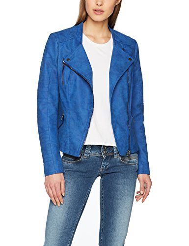 ONLY Damen Jacke Onlava Faux Leather Biker OTW Noos, Blau (Surf The Web Surf The Web), Large (Herstellergröße: 40) (Kunst Kurz)