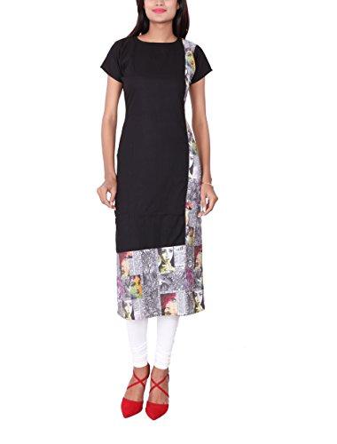 StylePick Solid Women's Straight Half Sleeve Kurti_SPKRT18-M_Black, White_M