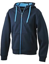 James & Nicholson JN355 Sweat zippé à capuche pour homme -  Bleu - Marine/Aqua - 50