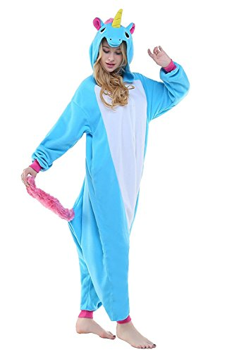 ABYED® Jumpsuit Tier Karton Fasching Halloween Kostüm Sleepsuit Cosplay Fleece-Overall Pyjama Schlafanzug Erwachsene Unisex Lounge,Erwachsene Größe M - für Höhe 159-166CM 2016 Blaue Einhorn (Kostüme Aus Karton)