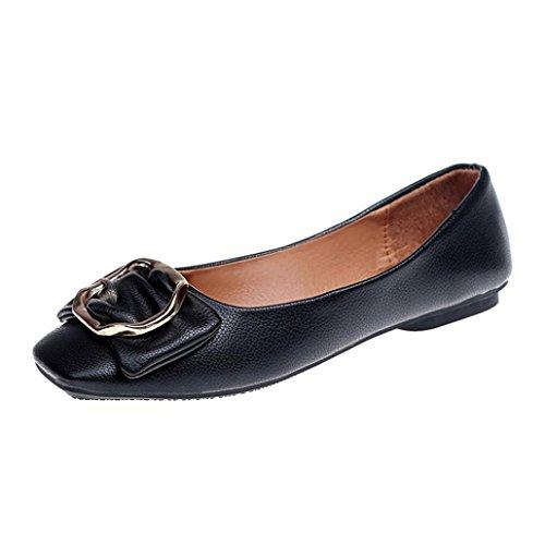 Stiefel Damen Flachschuhe Sonnena Frauen Flach Bowknot Quadrat Schnalle Low Heel Schuhe Spitz Einzel Schuhe Herbst Stiefel Outdoor Schuhe (37, Sexy Schwarz)