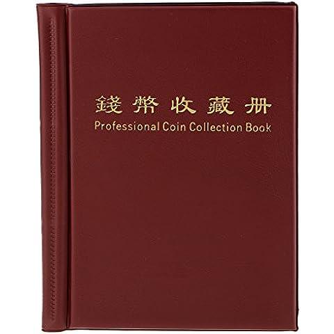 36 Moneta Raccolta Titolare Di Stoccaggio Album Soldi Centesimo Libro Tasche Rosso Scuro