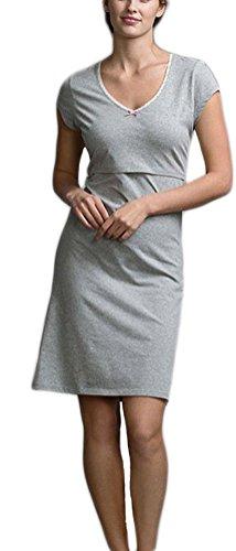 Damen Nachthemd Schwangere Frauen Kurzarm Elegant mit Spitze Stillen Pyjamas Stillnachthemd Stillzeit Umstandsmode Cute Chic Nachtwäsche Stillpyjama Kurz (Color : Grau, Size : M)