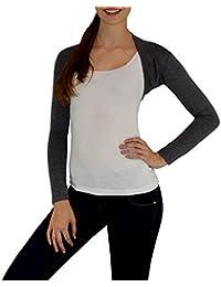 S&LU tolles Damen-Schulterjäckchen Bolero im Basic-Design oder mit Spitze in vielen tollen Farben Gr. XS - L