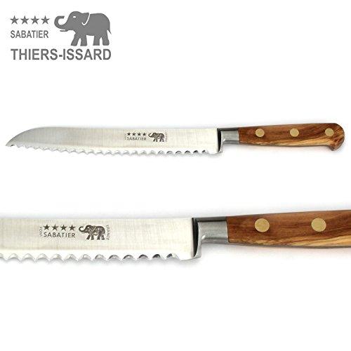 Thiers-Issard Sabatier Brotmesser Küchenmesser Messer - Klinge 20 cm - Griff Olivenholz - Durchgeschmiedete Profi Qualität -