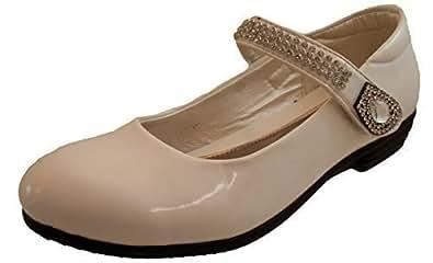 Filles Noir Verni Velcro Argent Paillettes Fantaisie Mariage Chaussures De Communion - Blanc, Poud Filles, EU 28