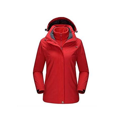 HHORD Soft Shell Jackets Women Vêtements de ski 3-en-1 en deux parties Hoodie détachable peut être porté seul molleton intérieur chaud imperméable Type Ripstop Windproof vrac Mountaineer Vestes , red , xxl