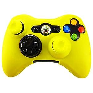 Pandaren® Silikon hülle skin für Xbox 360 controller (gelb) x 1 + thumb grip aufsätze x 2