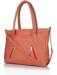 Flora Premium PU Leather Women's Handbag With Adjustable Strap (Peach Color)