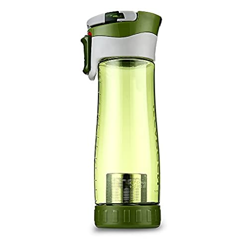 New Plastic Sports Water Bottle with Fruit Infuser Compass Travel Mug 600ML Portable Tea Water Cup
