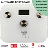 Charge Zero 6-in-1 Automatic Body Composition Scale (Body Fat Analyzer), Now measure BMI Index, Fat%, Water%, Muscle%, Bone Mass in a Smart Personal Digital Weighing Scale (White)
