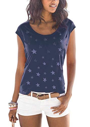 Lantch Damen T-Shirt Top Sommer Basic Kurzarm Shirts Baumwoll Tee Freizeit Oberteile(bl,m) -