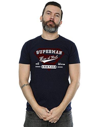 DC Comics Herren Superman Man of Steel T-Shirt Medium Marine