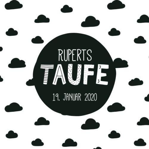 Ruperts Taufe: Personalisiertes Gästebuch mit Fragen & Erinnerungsalbum zur Taufe, 100 Seiten, skandinavischer Stil (Scandi) mit Wolken, schwarz weiß