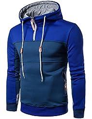 Babysbreath Hombres Sudadera con capucha Splicing Color manga larga Zipper Up Drawstring Casual Slim Fit Hoodies Pullover Azul L