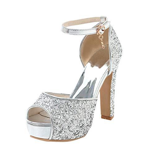 Artfaerie Glitzer Hochzeit Braut Schuhe Peeptoe Sandaletten High Heels 12cm Plateau Riemchensandalen Damen mit Blockabsatz (EU 37,Silber)