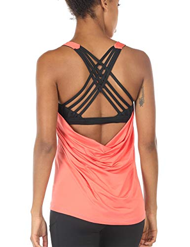 icyzone Damen Sport Tops mit Integriertem BH - 2 in 1 Yoga Gym Shirt Fitness Training Tanktop (L, Fusion Coral) -