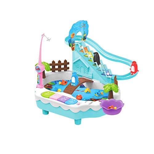 Magnetic Fishing Toy Pool Set Kinder Puzzle-Spiel Kleine Pinguin Treppen steigen (Farbe : Blau, größe : Battery rechargeable) - Für Alt Jahr Fünf Puppen
