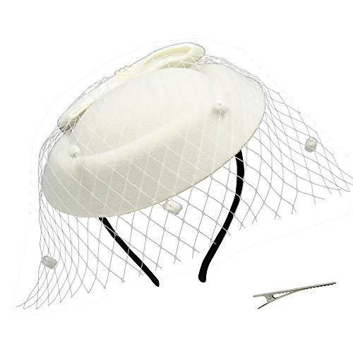 Umeepar Damen Bowknot Pillbox Fascinator Hut Hochzeit Tea Party Hüte mit Schleier Stirnband Clip (Weiß)