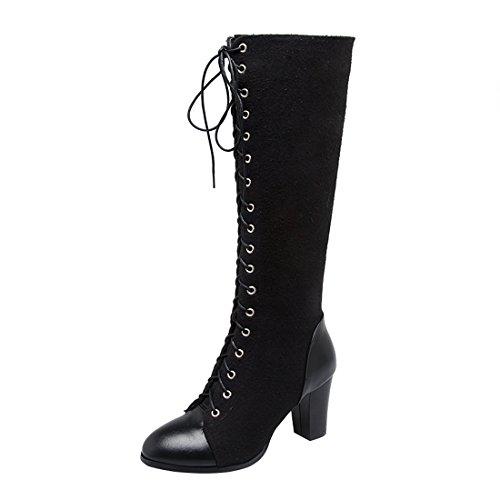 YE Damen Kniehoch Stiefel Blockabsatz High Heels mit Schnürung und Reißverschluss 8cm Absatz...