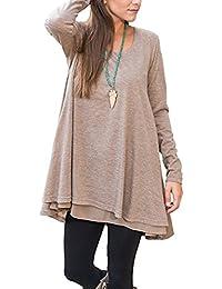 Winfon Tunique Femme Longue Manche Longue Grande Taille Coton Casual Blouse  Top Tee Shirt Longue 082cb38a503c