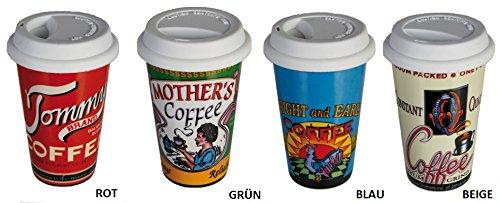 Coffee to Go Kaffeebecher aus Porzellan mit Silikondeckel (rot)