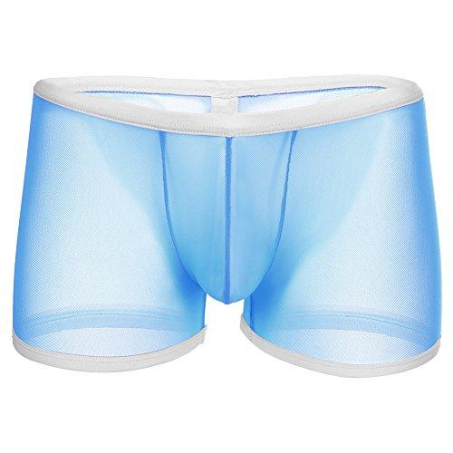 Herren Boxershorts Sexy Erotische String Tanga Suspensorium Durchsichtige Netz Männer Unterwäsche Transparent Blau M