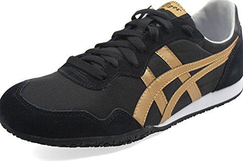 Asics Onitsuka Tiger - Unisex-Erwachsene Serrano Sneakers, 39.5 EU, Black/Pale Gold