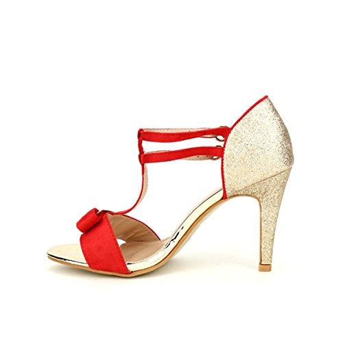 Cendriyon Escarpin Red et Doré WEIDES Chaussures Femme Rouge
