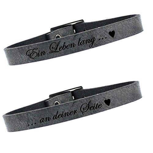 *Leder Partner Armbänder 2er Set 23cm – grey*
