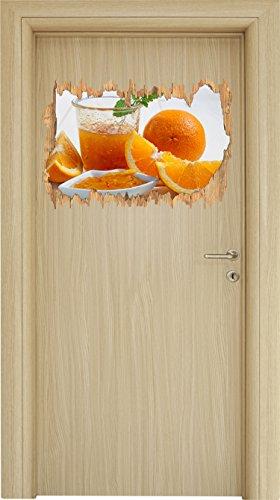 Frischer gepresster Orangensaft Holzdurchbruch im 3D-Look , Wand- oder Türaufkleber Format: 62x42cm, Wandsticker, Wandtattoo, Wanddekoration