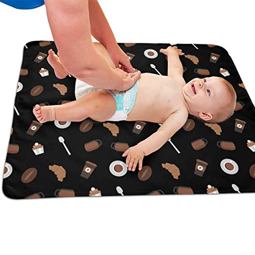 swerrtty Coffee Beans Croissant Pattern Portable Diaper Baby Changing Pad Multi-Purpose Travel Changing Mat (Chenille-bean-bag)