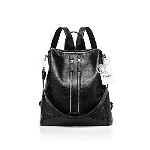 Yoome Fashion Zaino per donna Litchi Grain Zipper Bag Borsa a tracolla ad alta capacità borsa nera