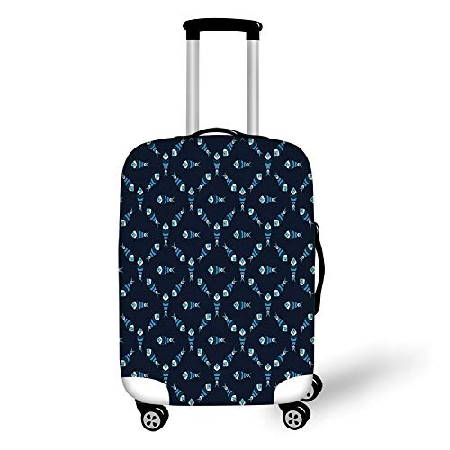 Travel Luggage Cover Suitcase Protector,Dark Blue,Fractal Fish Pattern Polygonal Style Ocean Swim Sea World Graphic Decorative,Indigo Dark and Sky Blue,for Travel S -