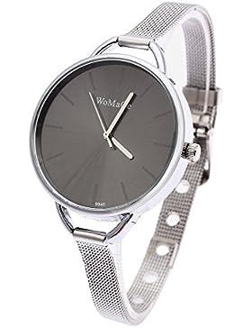 FACILLA® Damen Elegant Uhr Mode Quarzuhr Stahl Armband Analog Schmuck Geschenk Schwarz