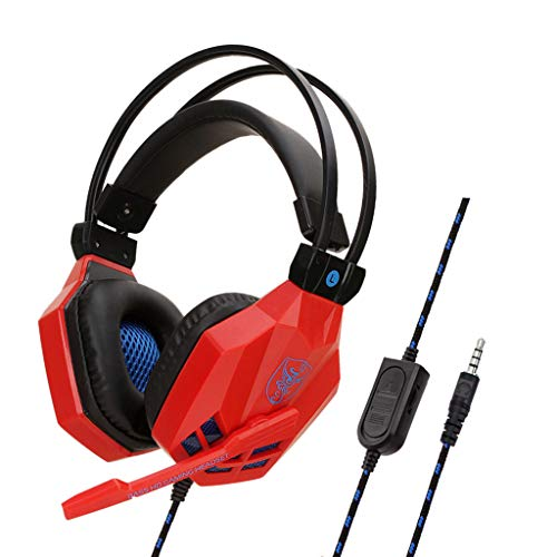 Yowablo Gaming Headset 3,5 mm Kopfhörer mit Mikrofon für PS4 / Xbox ONE / iPhone / IPAD(rot)