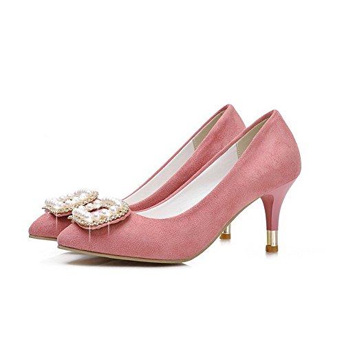 Senhoras Dedo Voguezone009 Rosa Pé Nobuck Puxar Calcanhar Do Bombas Pontas Meados Couro Pura Do Sapatos UfFUn
