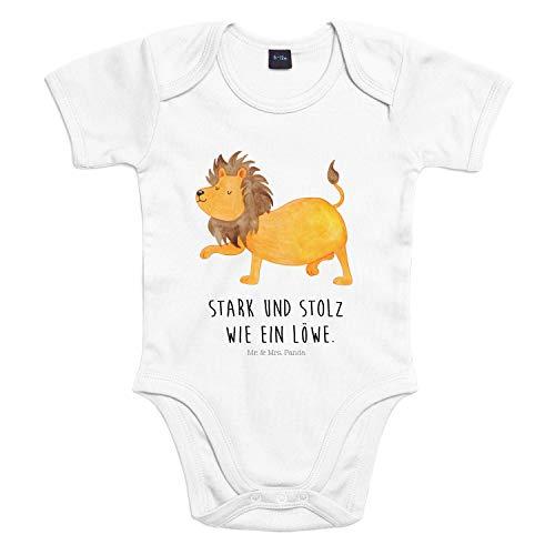 Mr. & Mrs. Panda Strampler, Babysuit, 6-12 Monate Baby Body Sternzeichen Löwe mit Spruch - Farbe Transparent