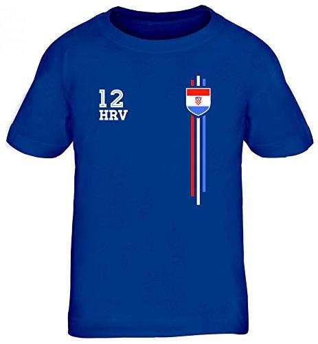 Hrvatska Croatia World Cup Fussball WM Fanfest Gruppen Kinder T-Shirt Rundhals Mädchen Jungen Streifen Trikot Kroatien, Größe: 122/128,Royal Blau
