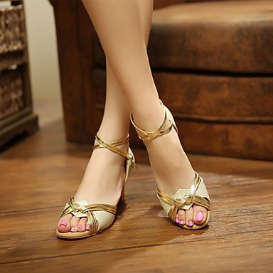 donna in pelle scamosciata con tacco alto sandali da danza latina Salsa Gold