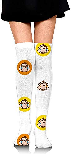 Sock Monkey Mädchen (vbcnfgdntdy Knee High Socks Monkey Women's Athletic Over Thigh Long Stockings)